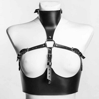Women PU Faux Leather Cupless Corset Collar To Chest Body Harness Teddy Gothic • 15.99£