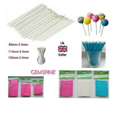 £1.99 • Buy Paper Lollipop Cake Pop Sticks Pink Blue White 89mm 114mm 152mm
