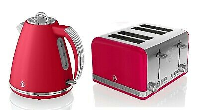 Retro Set 1.5 Litre Jug Kettle 3KW And 4 Slice Toaster Swan Cordless Design  RED • 139.99£