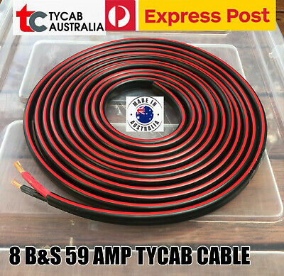 AU137.99 • Buy 20m Express Post 8mm 8b&s Twin Core Copper Cable 59 Amp Wire Double Insulated