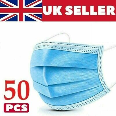50 X Disposable Face Mask 3ply   • 2.69£