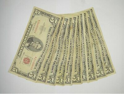 $ CDN84.58 • Buy Lot Of (10) $5.00 Red Seal Old US Notes Currency Collection $5 1963/1953 *360
