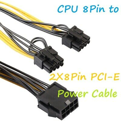 Cpu 8pin To Dual 6pin+2pin Pci-e Pcie Video Power Adapter Cable Splitter Lead • 3.49£