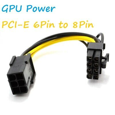 10cm PCI Express PCIe 6 Pin To 8 Pin Graphics Card Power Adapter Cable [006486] • 2.49£
