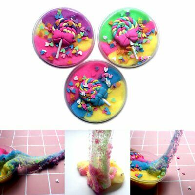 AU10.53 • Buy 3 Color Candy Lollipop Cloud Slime Puff Fluffy Mud Stress Relief Kids Clay ToyK%