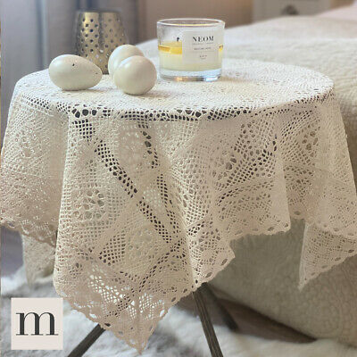 Luxury Pure Cotton Lace Knitted Crochet Tablecloth Linen Natural Country Cottage • 11.95£