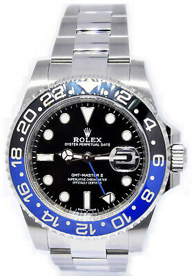 $ CDN22627.39 • Buy Rolex GMT-Master II Black/Blue BATMAN Ceramic Steel Watch Box/Papers 116710