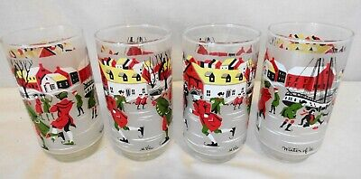 $19.95 • Buy 4 Vtg Libbey M.dia  Winter Of 76' Glasses Tumblers Winter Holiday Christmas