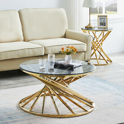 £99.99 • Buy Coffee Table Tempered Glass Top Stainless Steel Legs Side End Tables Living Room