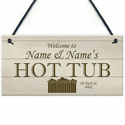 £4.99 • Buy Shabby Chic HOT TUB Sign Personalised Garden Shed Summerhouse Sign Gift