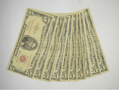 $ CDN87.26 • Buy Lot Of (10) $5.00 Red Seal Old US Notes Currency Collection $5 1963/1953 *364