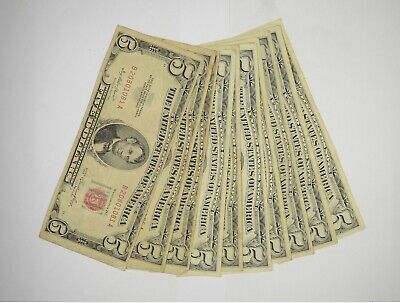 $ CDN34.90 • Buy Lot Of (10) $5.00 Red Seal Old US Notes Currency Collection $5 1963/1953 *366