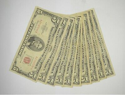 $ CDN77.86 • Buy Lot Of (10) $5.00 Red Seal Old US Notes Currency Collection $5 1963/1953 *368