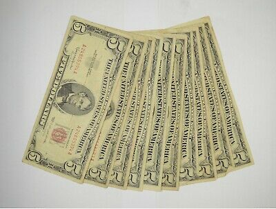 $ CDN72.49 • Buy Lot Of (10) $5.00 Red Seal Old US Notes Currency Collection $5 1963/1953 *367