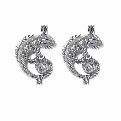 $2.37 • Buy 2pcs/lot Pearl Cage Alloy Silver Chameleon Locket Charms DIY Jewelry Accessories