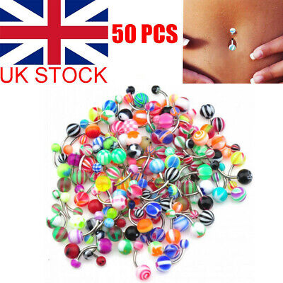 £4.58 • Buy 50pcs Belly Button Navel Ring Bars Stain Steel Body Piercing Jewellery Rings UK