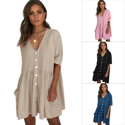 AU19.99 • Buy Women V Neck Smock Pocket Dress Summer Holiday Beach Casual Loose Shirt Sundress