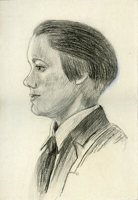 1926 Graphite On Board Profile Portrait Young Man Signed Bill A. Lundy Drawing • 26.33£