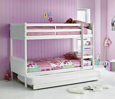 Argos Home Detachable Bunk Bed With Trundle & 3 Open Coil Mattresses - White • 580£