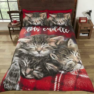 Red Duvet Covers Cuddly Cat Cute Kittens Tartan Check Quilt Cover Bedding Sets • 23.95£