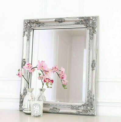 Silver Ornate Mirror Shabby Chic Framed Wall Hanging Decorative Baroque Art 53cm • 25.95£