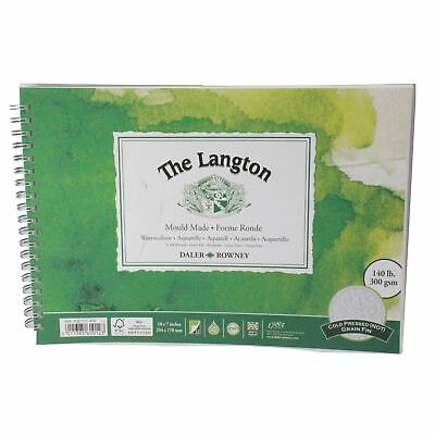 Daler Rowney Langton Watercolour Cold Press Spiral 10x7  300g 12sh • 9.49£