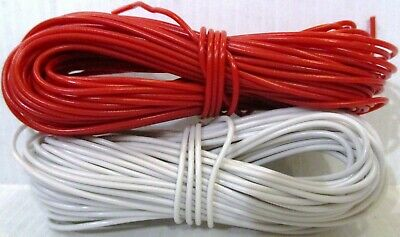 Model Railway / Railroad Wire 2 X 10m Roll 16/0.2mm 3A / 1 EACH RED + WHITE • 5.99£