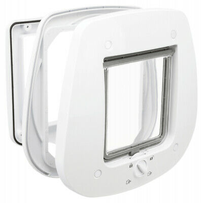 £25.99 • Buy Trixie 4-Way GLASS Fitting Lockable Door Cat Flap - White
