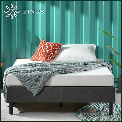 AU329 • Buy Zinus Curtis Fabric Ensemble Bed Base Upholstered Grey Frame Double Queen Size