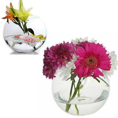 £6.99 • Buy Round Glass Vase Clear Flower Table Wedding Modern Floral Display Centrepiece