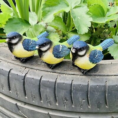 £12.99 • Buy 3 Pot Topping Blue Tit Birds Garden Ornaments Outdoor Animal Decoration