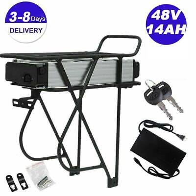 $280 • Buy 48V 14Ah Ebike Electric Battery Lithium Li-ion Rear Rack For 1000W Bicycle Motor