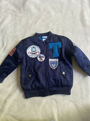 £18.18 • Buy Thomas The Tank Engine And Friends Jacket Navy Blue Puffer Lined Patches #659A