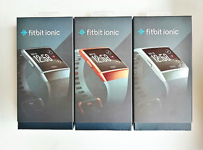 AU149.16 • Buy Fitbit Ionic Smartwatch GPS Fitness Activity Tracker Black Silver Gold FB503
