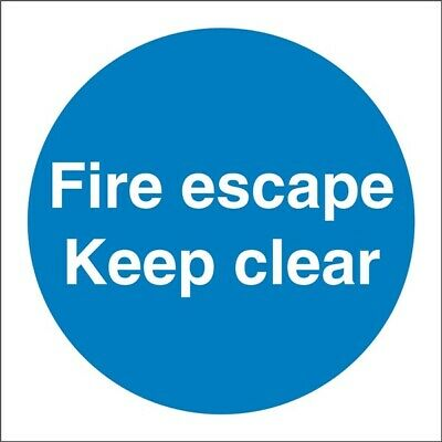 Fire Escape Keep Clear Sign Vinyl 100mm X 100mm SS007SA CASTLE PROMOTIONS • 5.03£