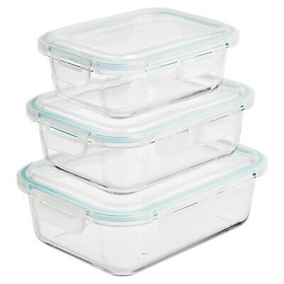 £18.99 • Buy Clear Rectangle Glass Kitchen Oven Safe Food Storage Containers With Plastic Lid