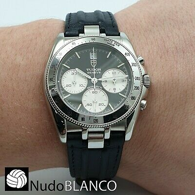 $ CDN2001.09 • Buy Tudor Rolex Geneve Monarch Chronograph Black Dial With Date Ref. 15900 Daytona