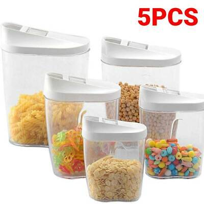 £7.99 • Buy 5pcs Cereal Dispenser Dry Food Pasta Rice Storage Container Plastic Clear Box