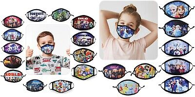 Kids Boy Girl Face Mask Washable Adjustable Double Layer Children Covering • 4.99£