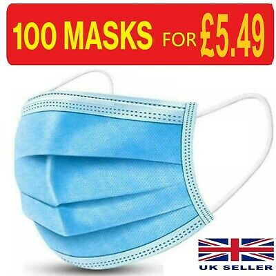 100 X Disposable Face Mask 3 PLY Disposable Face Mask • 5.49£