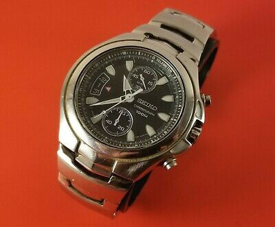 $ CDN298.99 • Buy Vintage SEIKO Men's Wrist Watch Chronograph 100M With Date Black & Silver Tone