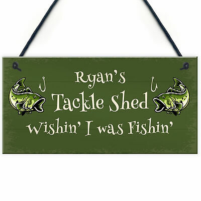 £4.99 • Buy Tackle Shed Personalised Hanging Sign For Man Cave Shed Fishing Gift For Him