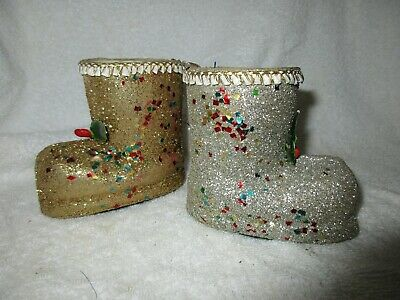 $ CDN10.04 • Buy Vintage Papier Mache Christmas Boots Japan Holiday Decorations