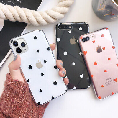 Case For IPhone 11 XR 12 XS Max 7 8 Plus Soft Hearts Phone TPU Silicone Cover • 2.99£
