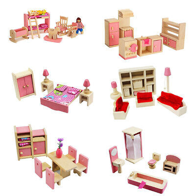 Dolls House Furniture Play Toys KIds Wooden Set Miniature 7 Room People Doll Toy • 8.99£