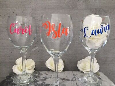 Personalised Name Decal Stickers For Wine, Glitter Glasses Weddings Birthdays  • 1£