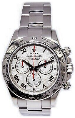 $ CDN38646.79 • Buy  Rolex Daytona Chronograph 18k White Gold Meteorite Dial Watch & Box M 116509