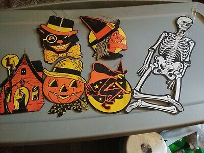 $ CDN16.51 • Buy Lot Of 6 Vtg. H.E. Luhrs Cardboard Halloween Decor Jointed Skeleton +++