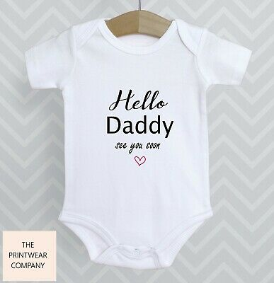 £4.98 • Buy Hello Daddy See You Soon Announcement Reveal Baby Grow Bodysuit Babygrow Gift