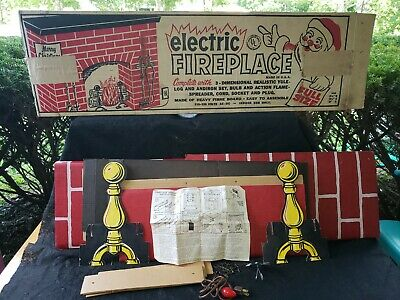 $ CDN172.63 • Buy Vintage 1960s Christmas Full Size Cardboard Electric Fireplace With Original Box